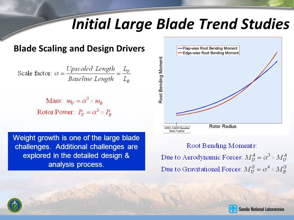 Initial Large Blade Trend Studies Blade Scaling and Design Drivers Weight growth is one of the large blade challenges. Additional challenges are explo
