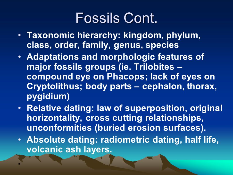 Fossils Cont.