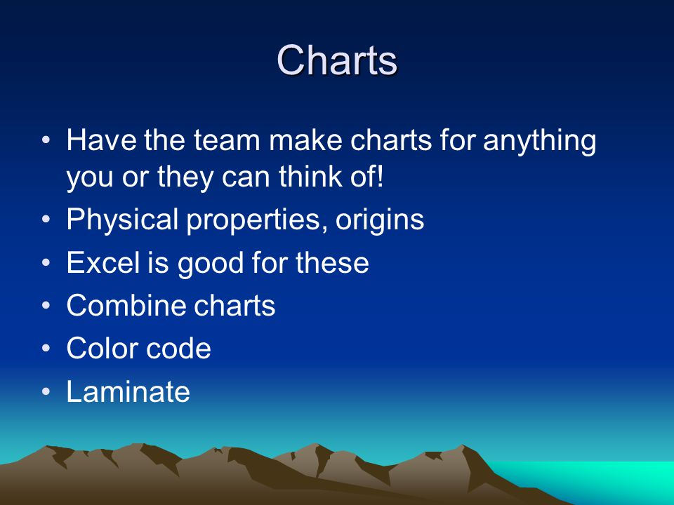 Charts Have the team make charts for anything you or they can think of.