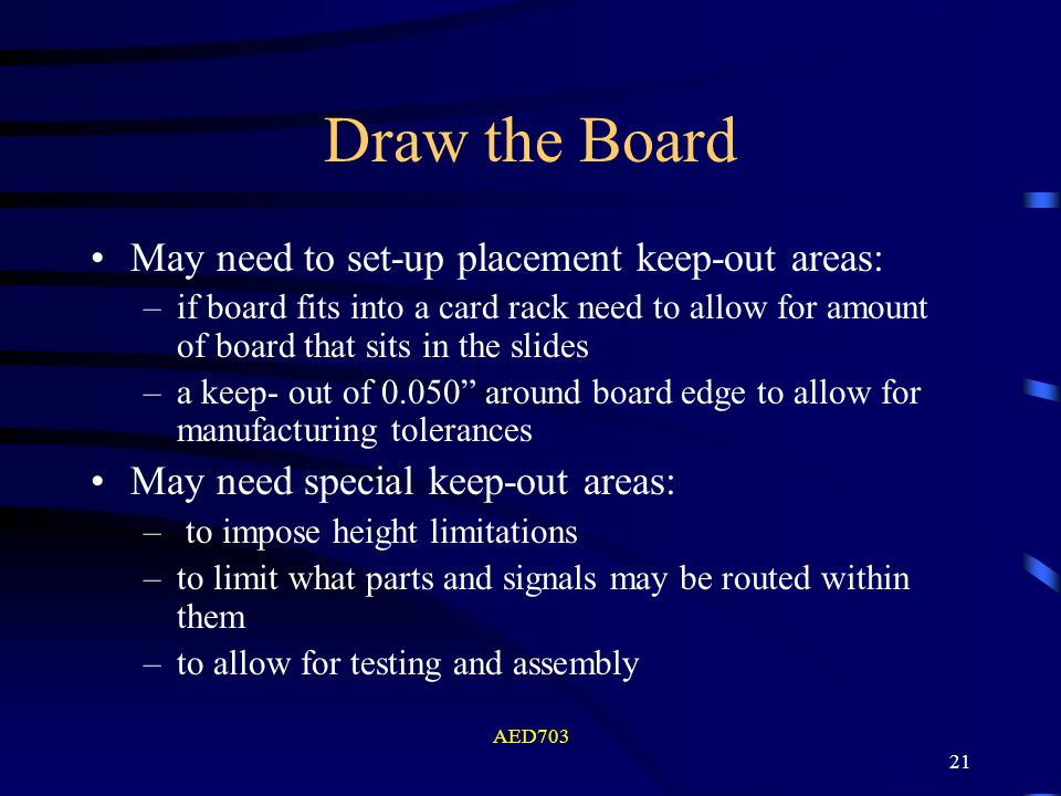 AED703 21 Draw the Board May need to set-up placement keep-out areas: –if board fits into a card rack need to allow for amount of board that sits in t