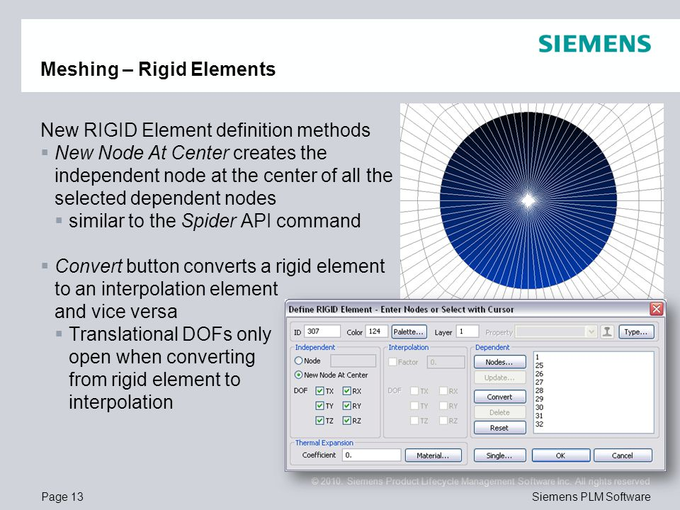 Page 13 © 2010. Siemens Product Lifecycle Management Software Inc. All rights reserved Siemens PLM Software Meshing – Rigid Elements New RIGID Element