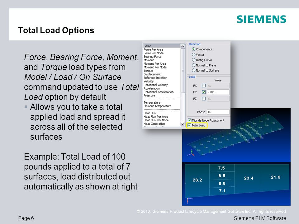 Page 6 © 2010. Siemens Product Lifecycle Management Software Inc. All rights reserved Siemens PLM Software Total Load Options Force, Bearing Force, Mo
