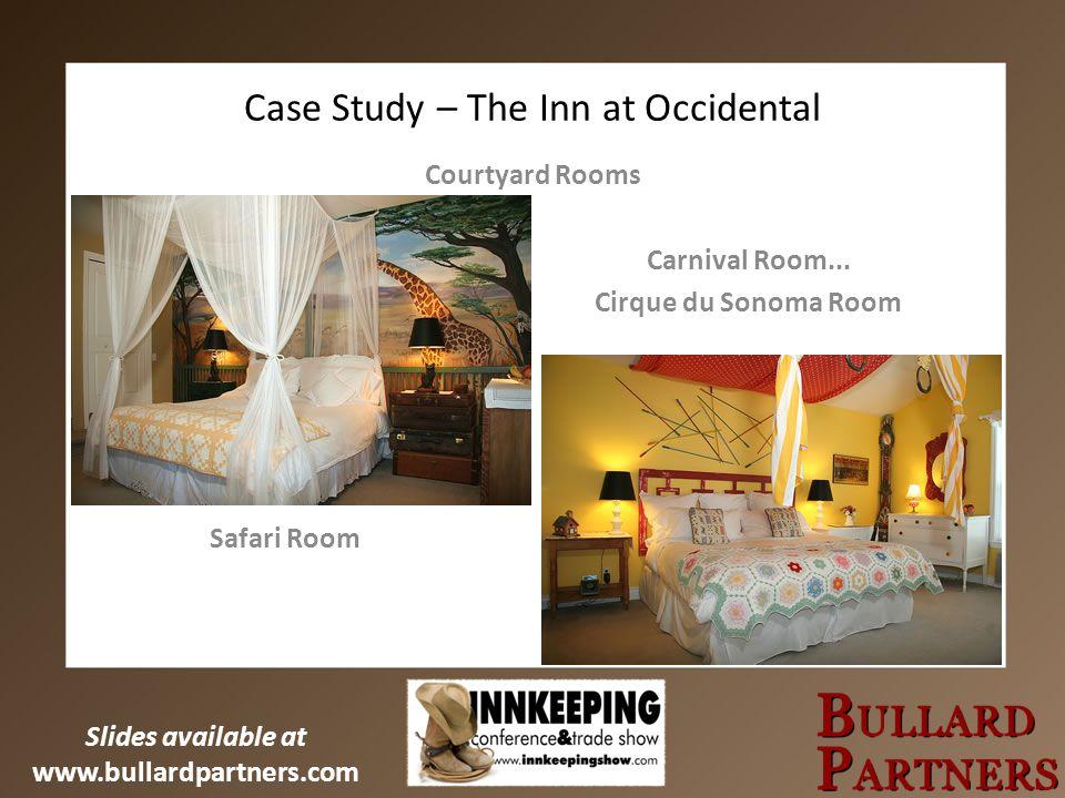 Slides available at www.bullardpartners.com Case Study – The Inn at Occidental Courtyard Rooms Carnival Room... Cirque du Sonoma Room Safari Room
