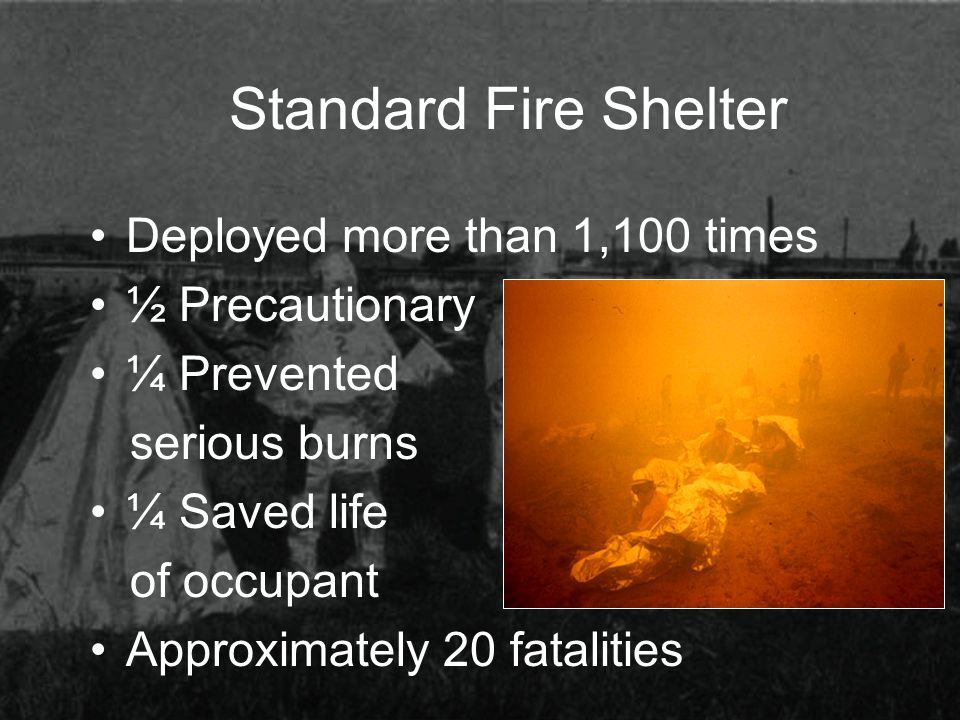 Standard Fire Shelter Deployed more than 1,100 times ½ Precautionary ¼ Prevented serious burns ¼ Saved life of occupant Approximately 20 fatalities
