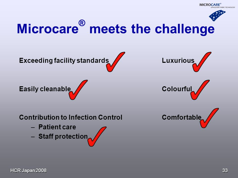 HCR Japan Microcare ® meets the challenge Exceeding facility standardsLuxurious Easily cleanableColourful Contribution to Infection ControlComfortable – –Patient care – –Staff protection