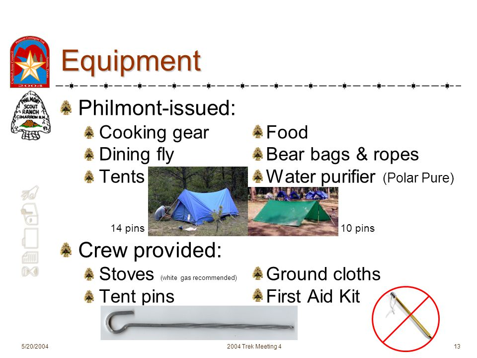 620-B 5/20/20042004 Trek Meeting 413 Equipment Philmont-issued: Cooking gearFood Dining flyBear bags & ropes TentsWater purifier (Polar Pure) Crew provided: Stoves (white gas recommended) Ground cloths Tent pinsFirst Aid Kit 14 pins10 pins