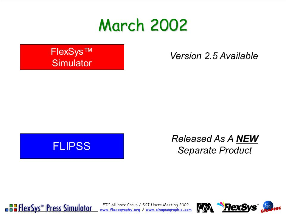 FTC Alliance Group / SGI Users Meeting 2002 www.flexography.orgwww.flexography.org / www.sinapsegraphic.comwww.sinapsegraphic.com March 2002 FlexSys Simulator FLIPSS Version 2.5 Available Released As A NEW Separate Product