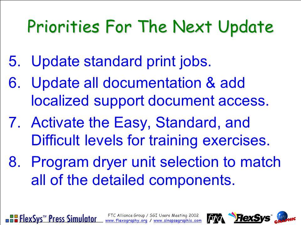 FTC Alliance Group / SGI Users Meeting 2002 www.flexography.orgwww.flexography.org / www.sinapsegraphic.comwww.sinapsegraphic.com Priorities For The Next Update 5.Update standard print jobs.