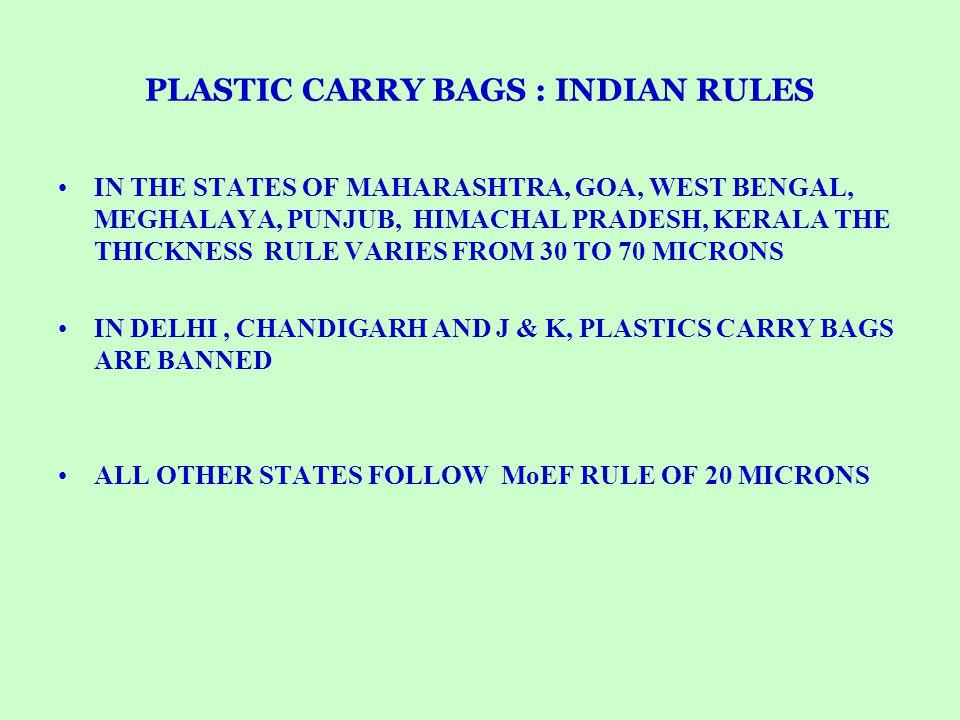 PLASTIC CARRY BAGS : INDIAN RULES IN THE STATES OF MAHARASHTRA, GOA, WEST BENGAL, MEGHALAYA, PUNJUB, HIMACHAL PRADESH, KERALA THE THICKNESS RULE VARIE