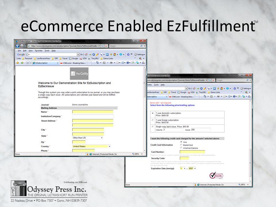 eCommerce Enabled EzFulfillment TM