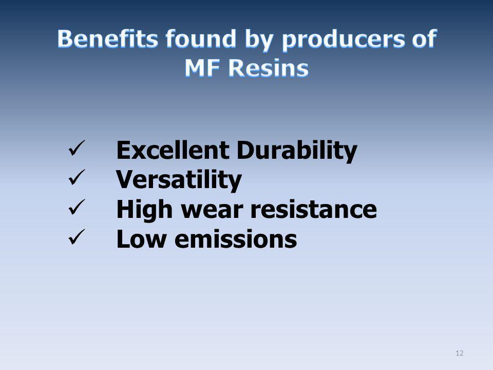 12 Excellent Durability Versatility High wear resistance Low emissions