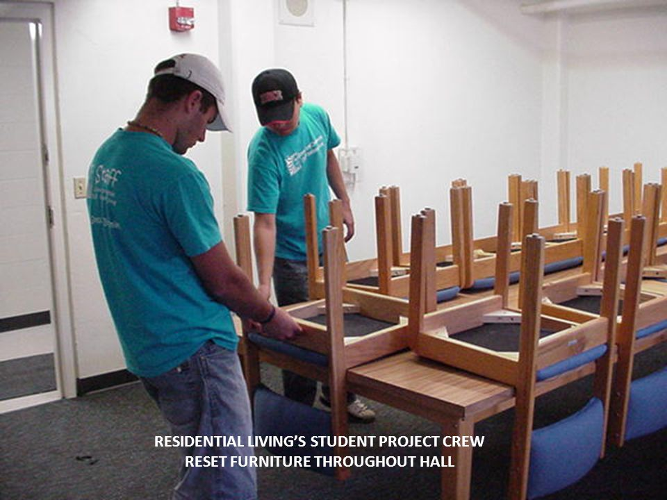 RESIDENTIAL LIVINGS STUDENT PROJECT CREW RESET FURNITURE THROUGHOUT HALL