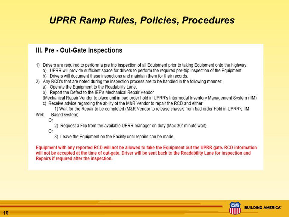 10 UPRR Ramp Rules, Policies, Procedures