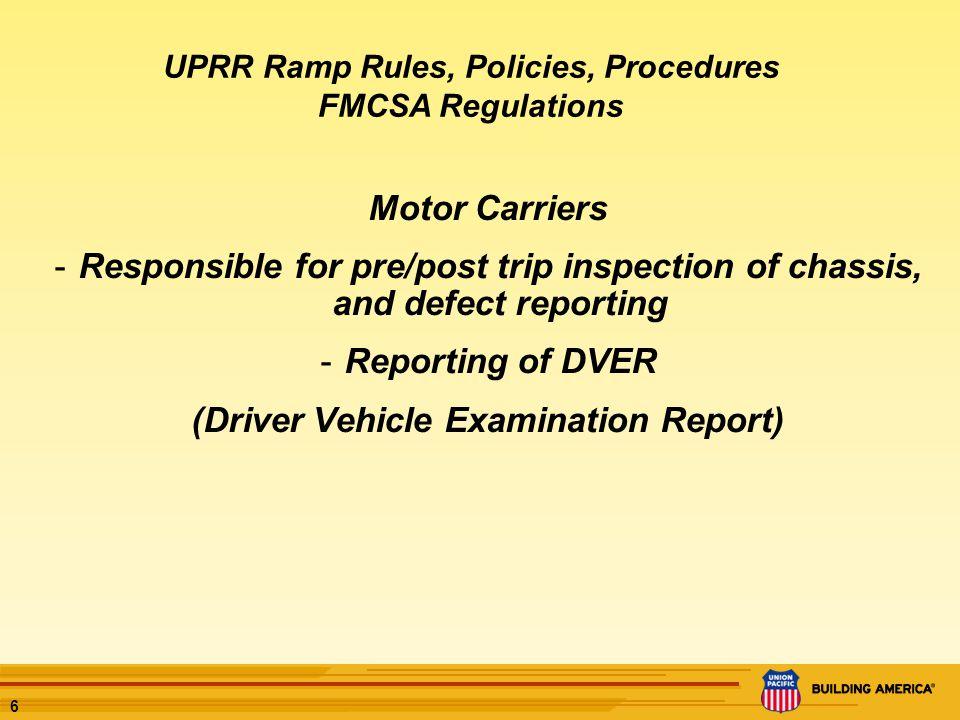 7 UPRR Ramp Rules, Policies, Procedures
