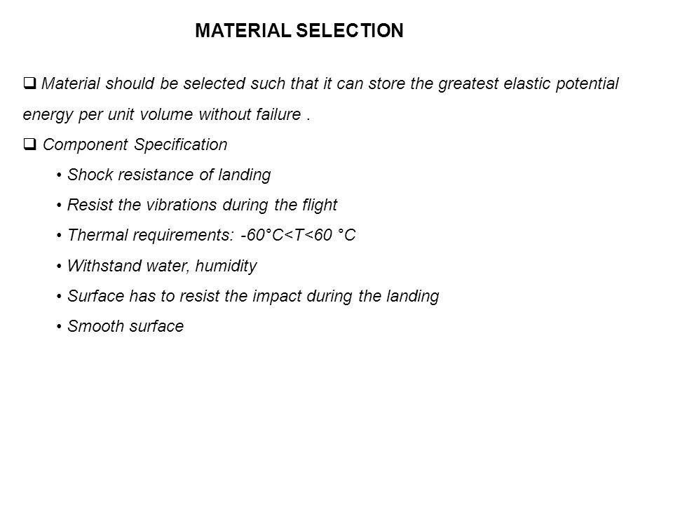 Material should be selected such that it can store the greatest elastic potential energy per unit volume without failure.
