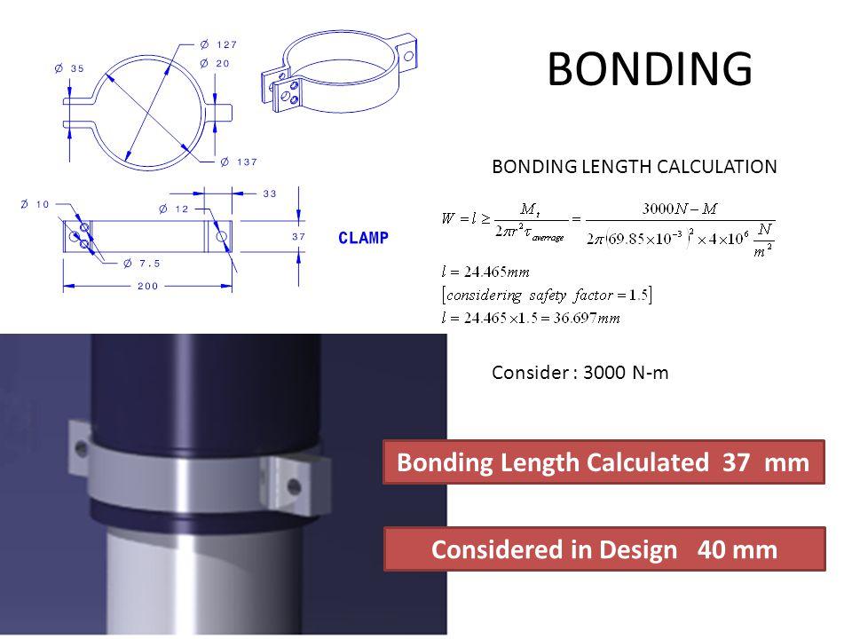 BONDING BONDING LENGTH CALCULATION Consider : 3000 N-m Bonding Length Calculated 37 mm Considered in Design 40 mm