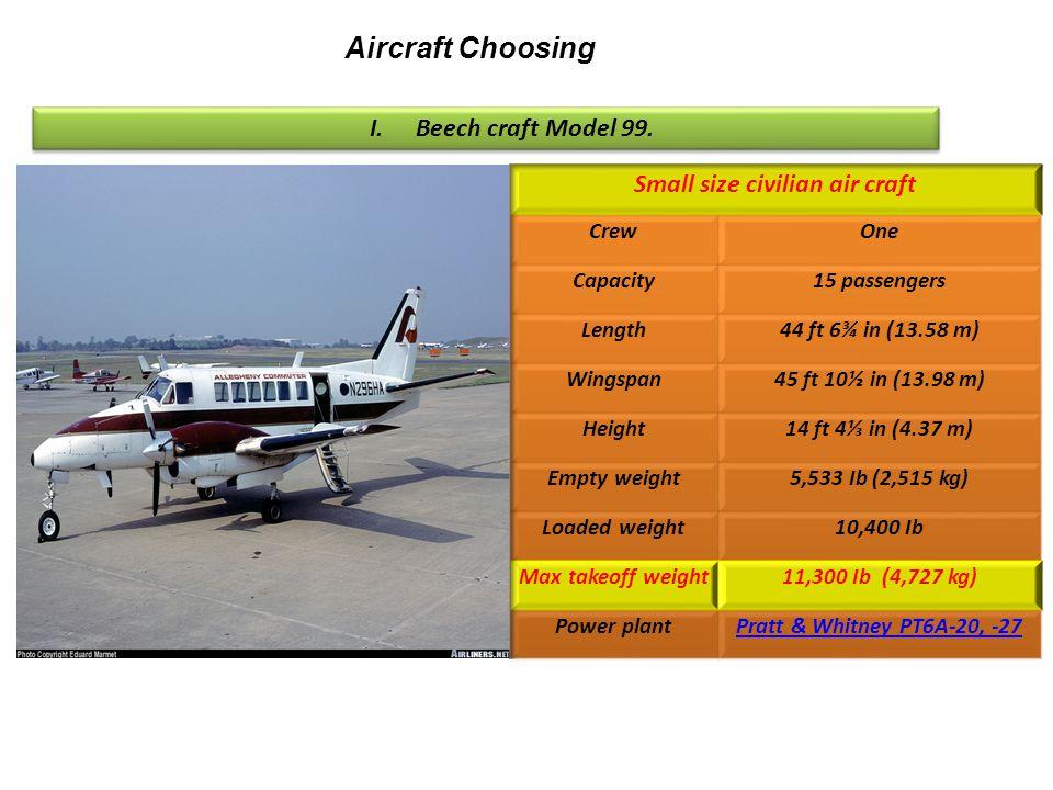 Aircraft Choosing I.Beech craft Model 99.