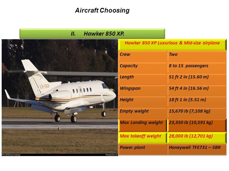 II.Hawker 850 XP. Aircraft Choosing