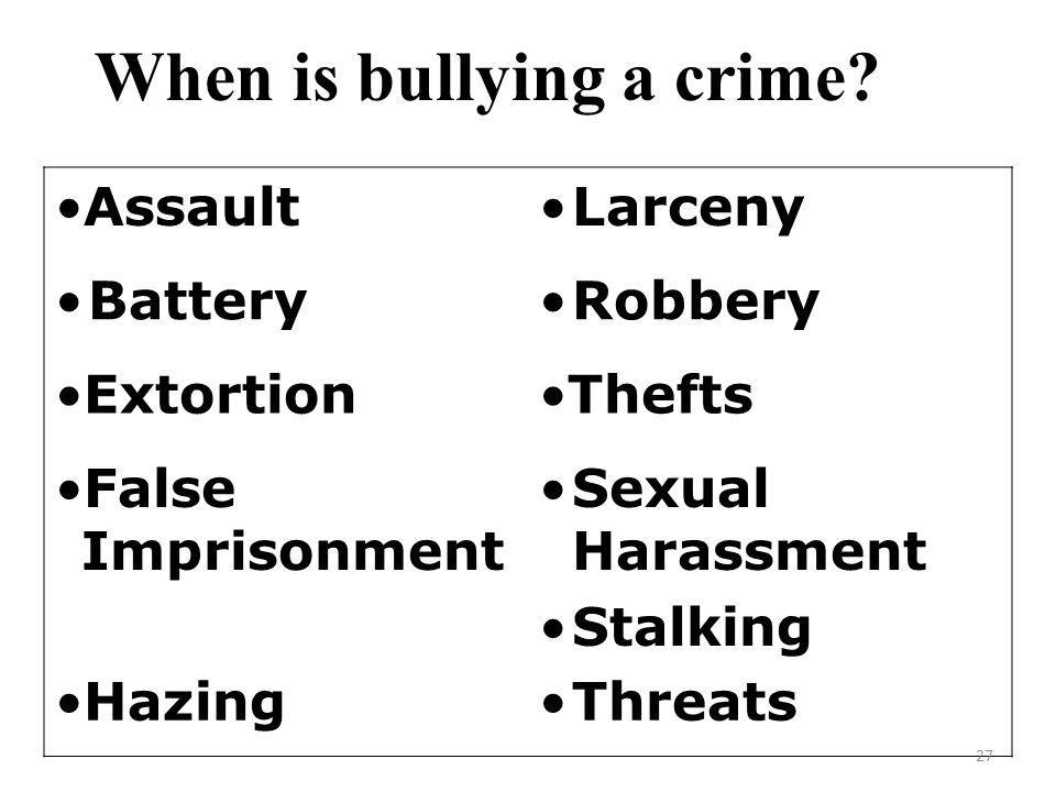 When is bullying a crime.