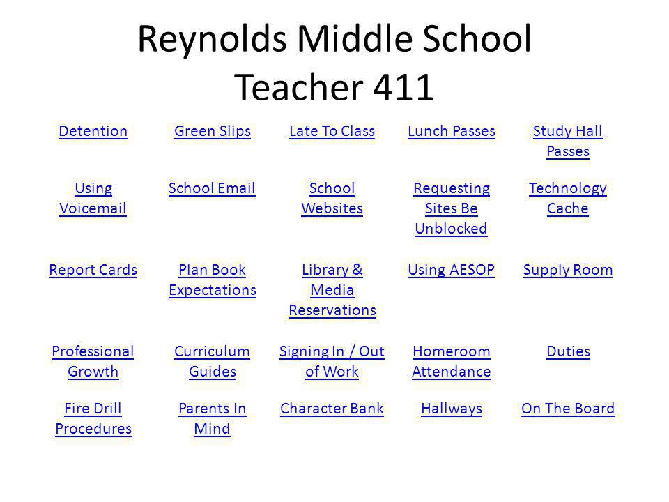 Reynolds Middle School Teacher 411 DetentionGreen SlipsLate To ClassLunch PassesStudy Hall Passes Using Voicemail School EmailSchool Websites Requesting Sites Be Unblocked Technology Cache Report CardsPlan Book Expectations Library & Media Reservations Using AESOPSupply Room Professional Growth Curriculum Guides Signing In / Out of Work Homeroom Attendance Duties Fire Drill Procedures Parents In Mind Character BankHallwaysOn The Board
