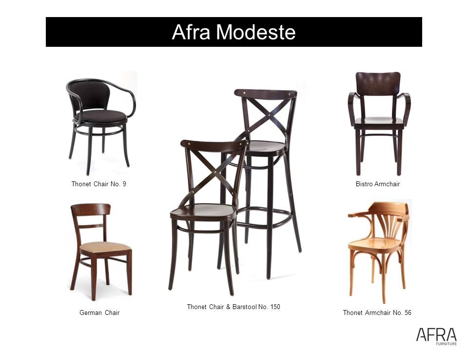 Afra Modeste Thonet Chair & Barstool No. 150 Bistro Armchair Thonet Armchair No. 56 Thonet Chair No. 9 German Chair