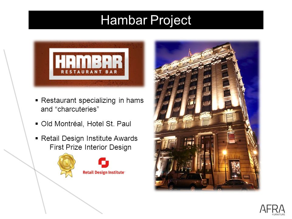 Hambar Project Restaurant specializing in hams and charcuteries Old Montréal, Hotel St.