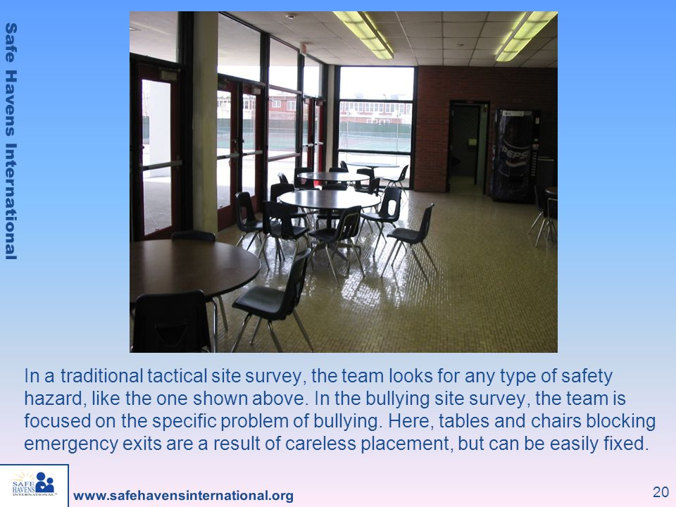 20 In a traditional tactical site survey, the team looks for any type of safety hazard, like the one shown above. In the bullying site survey, the tea