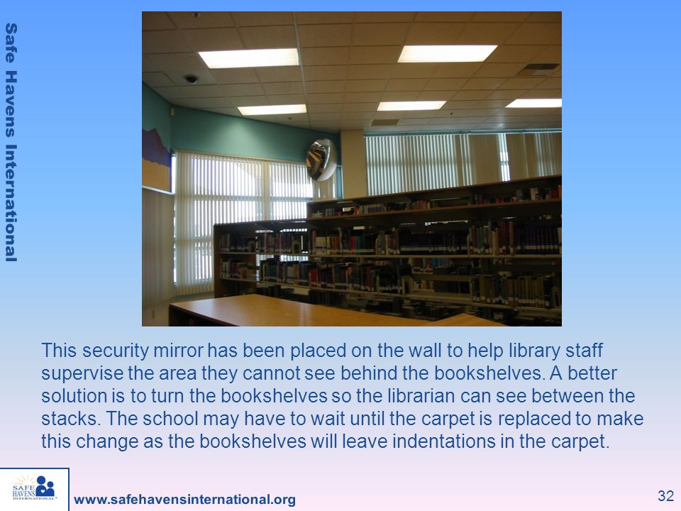 32 This security mirror has been placed on the wall to help library staff supervise the area they cannot see behind the bookshelves. A better solution