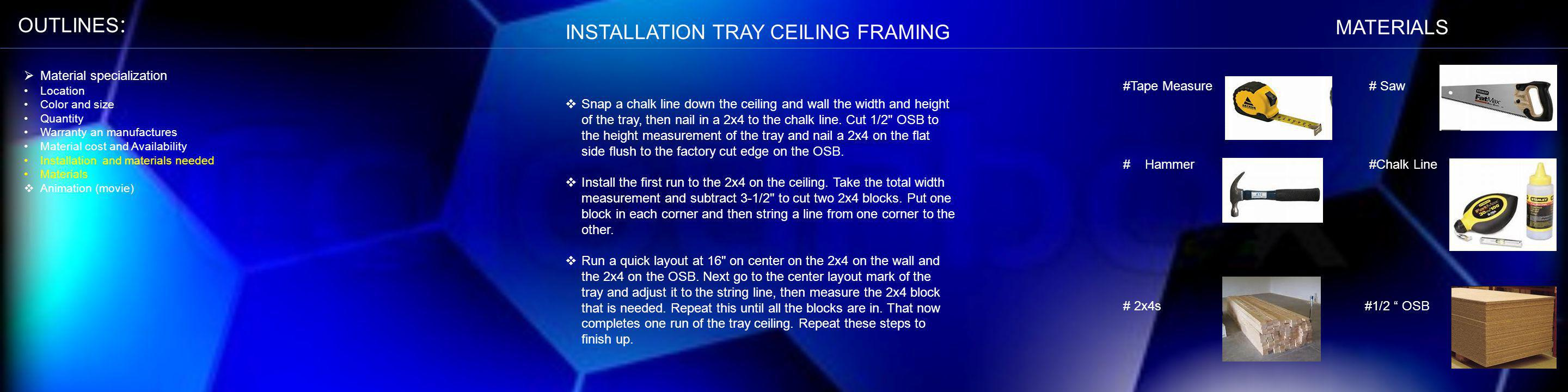 INSTALLATION TRAY CEILING FRAMING Snap a chalk line down the ceiling and wall the width and height of the tray, then nail in a 2x4 to the chalk line.
