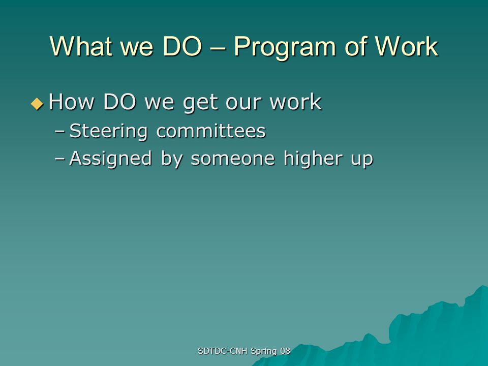 What we DO – Program of Work How DO we get our work How DO we get our work –Steering committees –Assigned by someone higher up