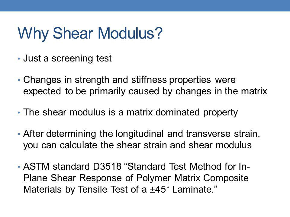 Why Shear Modulus? Just a screening test Changes in strength and stiffness properties were expected to be primarily caused by changes in the matrix Th