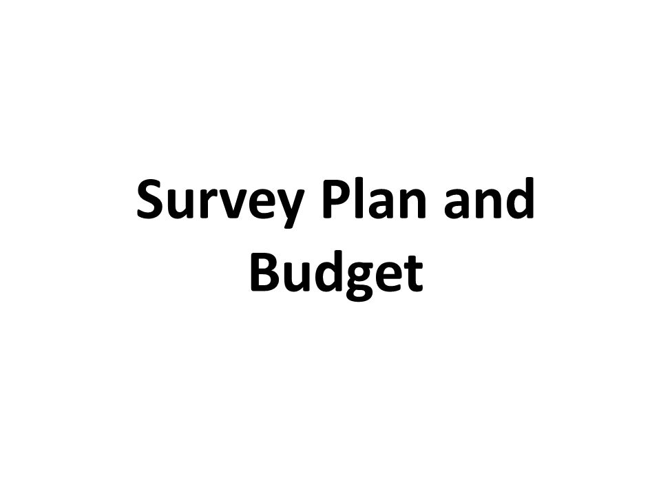 Survey Plan and Budget