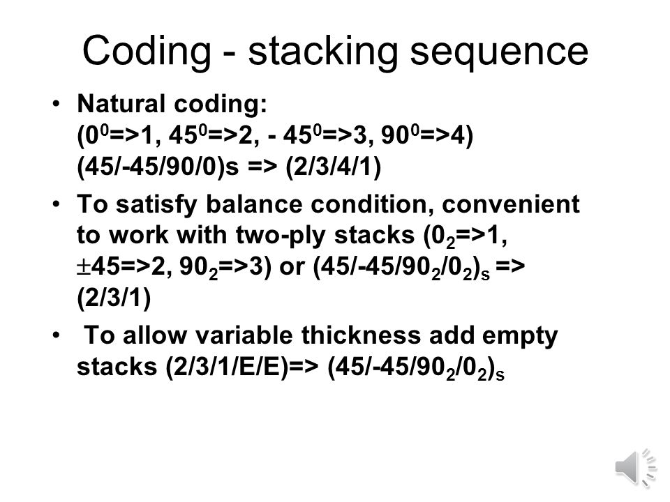Stacking sequence optimization For many practical problems angles limited to 0-deg, 45-deg, 90-deg.