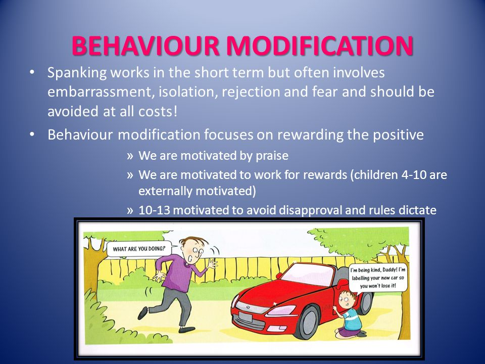 BEHAVIOUR MODIFICATION Spanking works in the short term but often involves embarrassment, isolation, rejection and fear and should be avoided at all costs.
