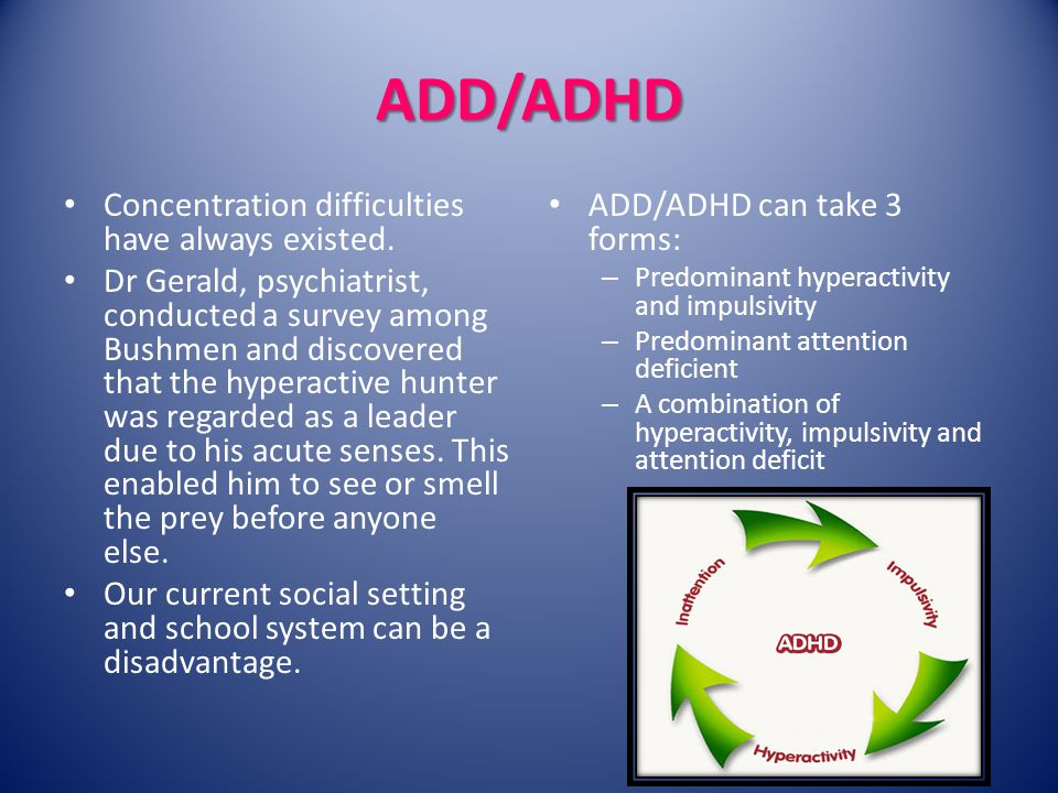 ADD/ADHD Concentration difficulties have always existed.