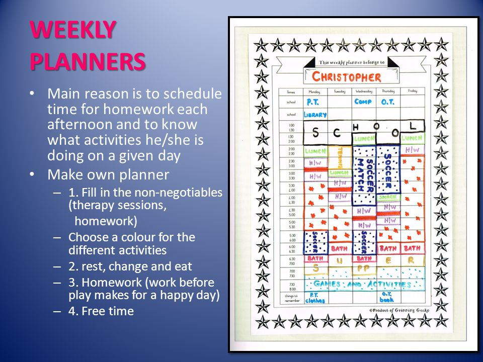 WEEKLY PLANNERS Main reason is to schedule time for homework each afternoon and to know what activities he/she is doing on a given day Make own planner – 1.