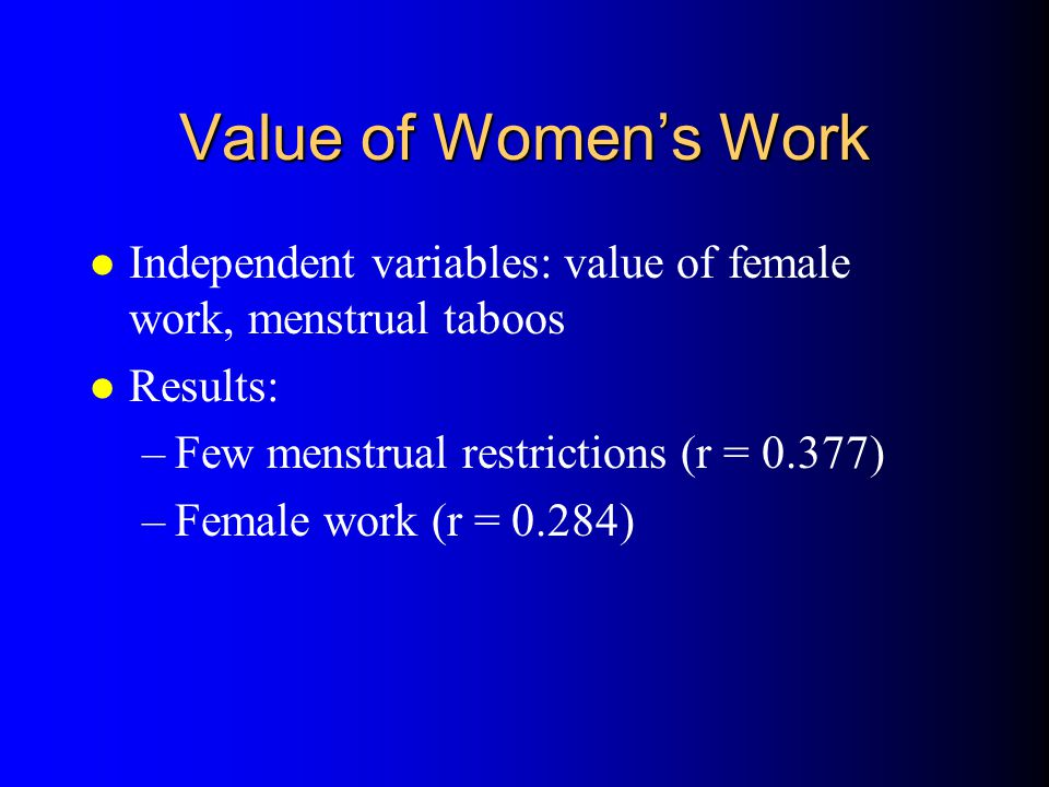 Value of Womens Work l Independent variables: value of female work, menstrual taboos l Results: –Few menstrual restrictions (r = 0.377) –Female work (