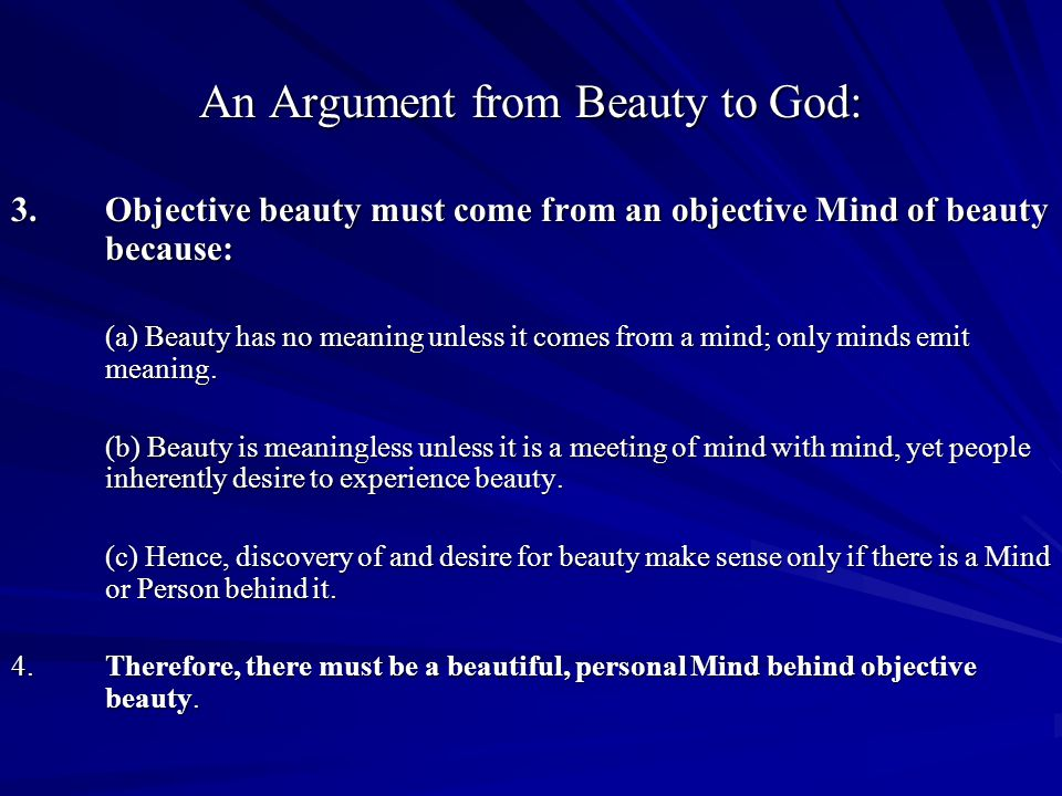 An Argument from Beauty to God: 3.