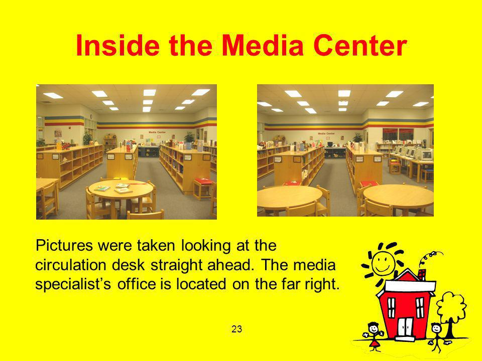 23 Inside the Media Center Pictures were taken looking at the circulation desk straight ahead. The media specialists office is located on the far righ
