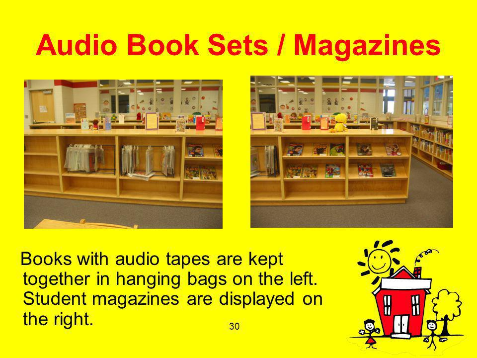 30 Audio Book Sets / Magazines Books with audio tapes are kept together in hanging bags on the left. Student magazines are displayed on the right.