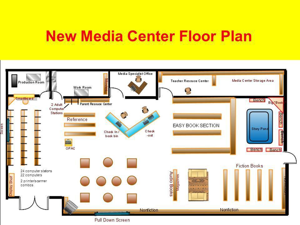 46 New Media Center Floor Plan 24 computer stations 22 computers 2 printer/scanner combos
