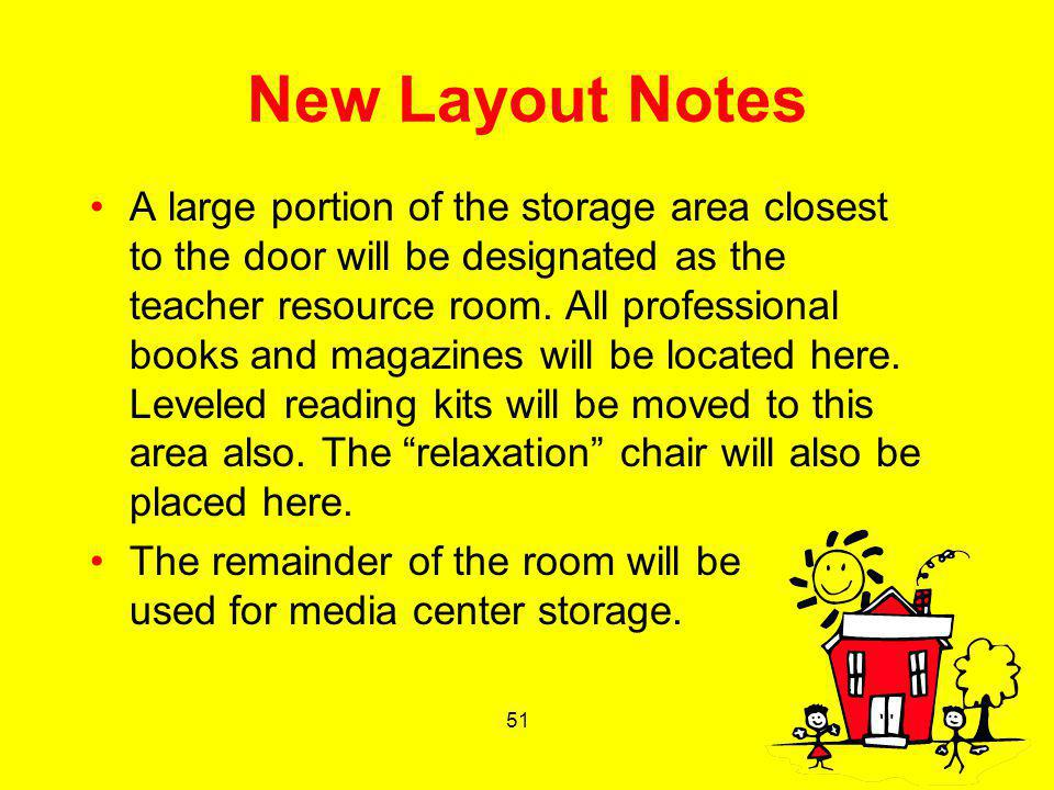 51 New Layout Notes A large portion of the storage area closest to the door will be designated as the teacher resource room. All professional books an