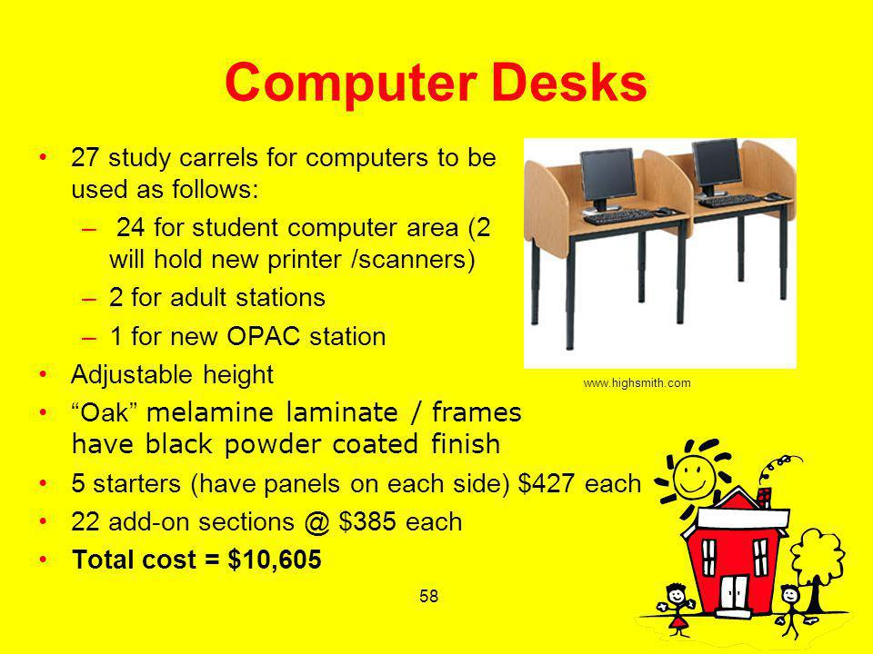 58 Computer Desks 27 study carrels for computers to be used as follows: – 24 for student computer area (2 will hold new printer /scanners) –2 for adul