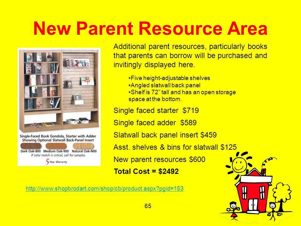 65 New Parent Resource Area Five height-adjustable shelves Angled slatwall back panel Shelf is 72 tall and has an open storage space at the bottom. Si
