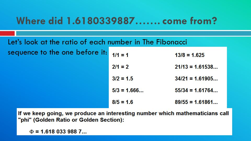 Where did 1.6180339887……. come from? Lets look at the ratio of each number in The Fibonacci sequence to the one before it:
