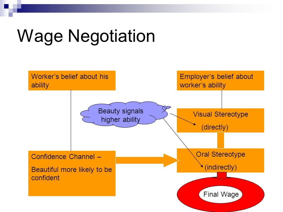 Wage Negotiation Employers belief about workers ability Visual Stereotype (directly) Oral Stereotype (indirectly) Workers belief about his ability Con