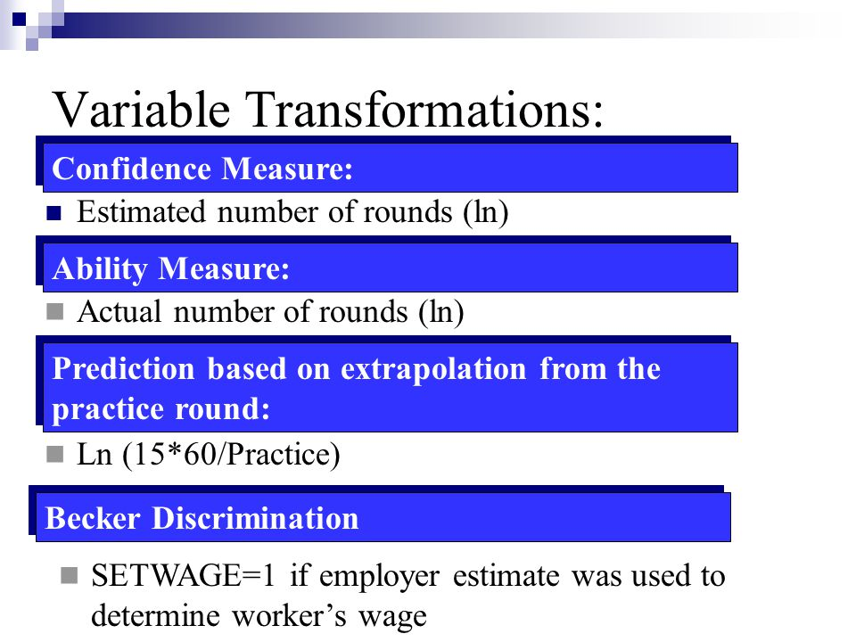 Variable Transformations: Estimated number of rounds (ln) Confidence Measure: Actual number of rounds (ln) Ability Measure: Prediction based on extrap