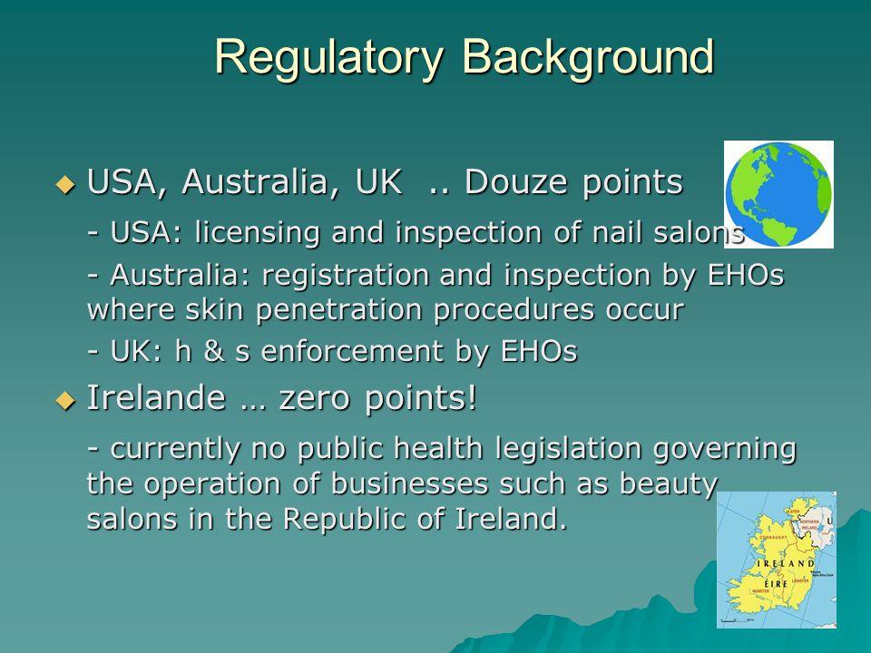 Regulatory Background USA, Australia, UK.. Douze points - USA: licensing and inspection of nail salons - Australia: registration and inspection by EHO