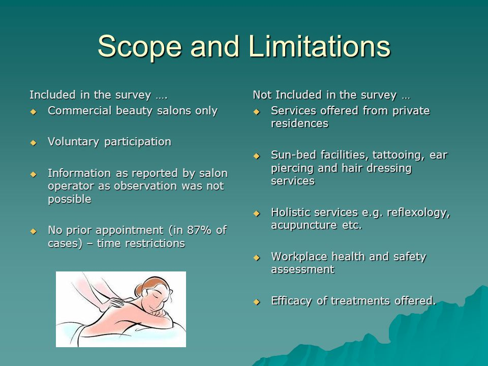 Scope and Limitations Included in the survey ….