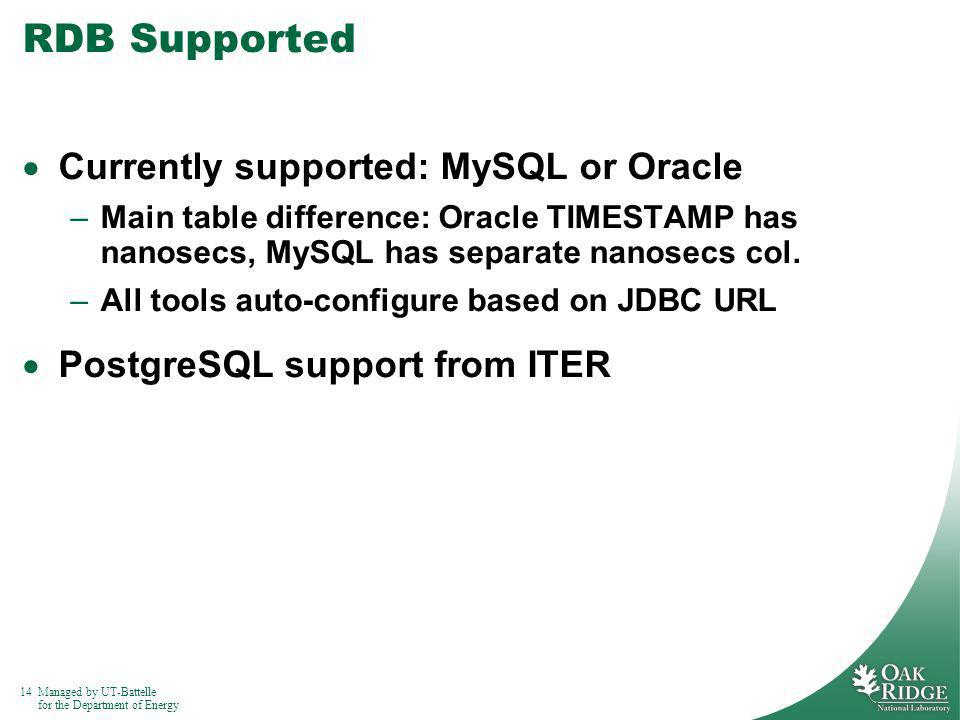 14Managed by UT-Battelle for the Department of Energy RDB Supported Currently supported: MySQL or Oracle –Main table difference: Oracle TIMESTAMP has nanosecs, MySQL has separate nanosecs col.